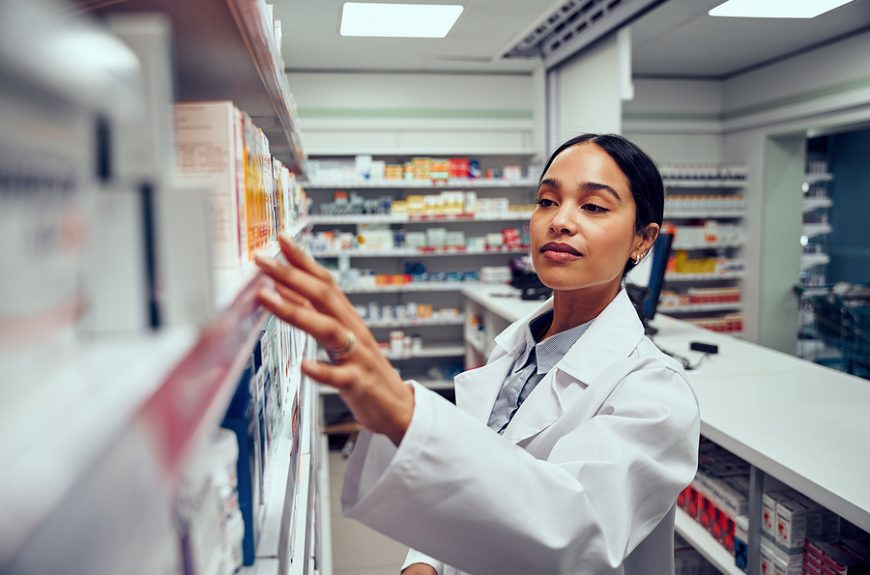 Woman working in a compounding pharmacy near me